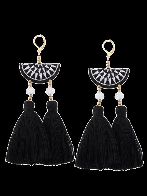 Geometrische Stickerei Perlen Ethnische Troddel Ohrringe - Schwarz  Mobile