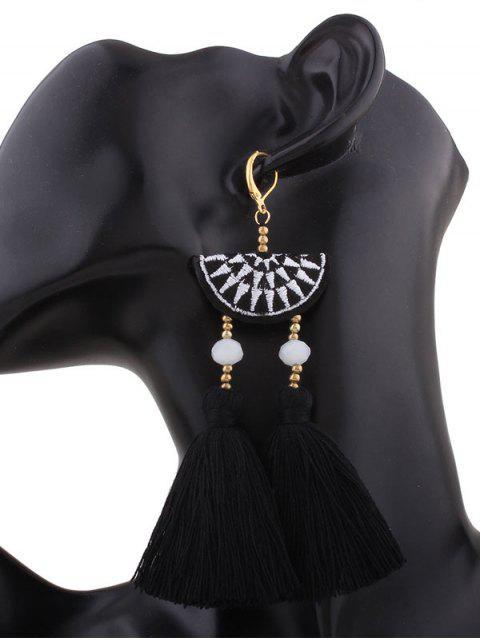 fancy Geometric Embroidery Beads Ethnic Tassel Earrings - BLACK  Mobile