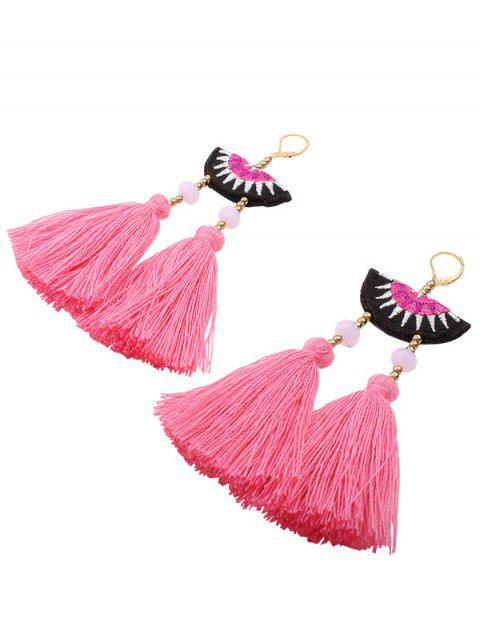 Perles de broderie géométriques Boucles d'oreilles ethniques - ROSE PÂLE  Mobile