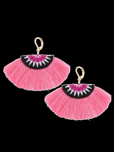 Boucles d'oreilles ethniques en forme de broderie en forme de fan - Rose   Mobile