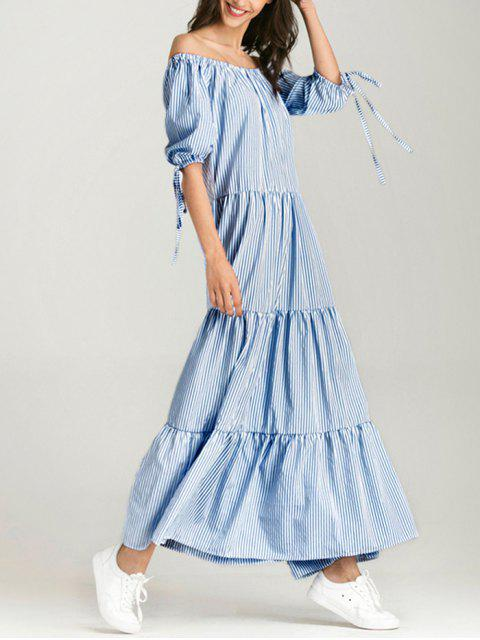 womens Off The Shoulder Striped Maxi Dress - BLUE STRIPE M Mobile