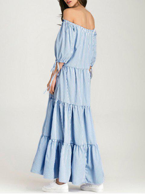 women's Off The Shoulder Striped Maxi Dress - BLUE STRIPE XL Mobile