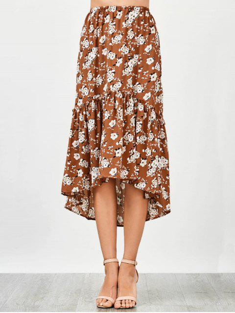 affordable Ruffles Asymmetrical Beach Midi Skirt - FLORAL L Mobile