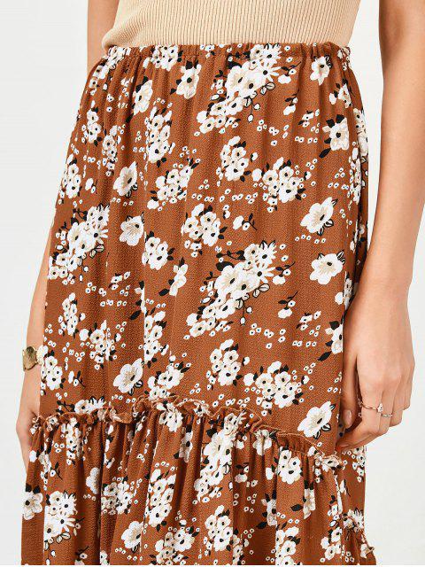 womens Ruffles Asymmetrical Beach Midi Skirt - FLORAL S Mobile