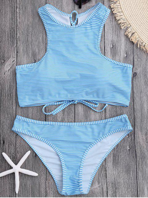 fashion High Neck Stripe Lace Up Bikini - LIGHT BLUE M Mobile