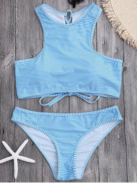 chic High Neck Stripe Lace Up Bikini - LIGHT BLUE S Mobile