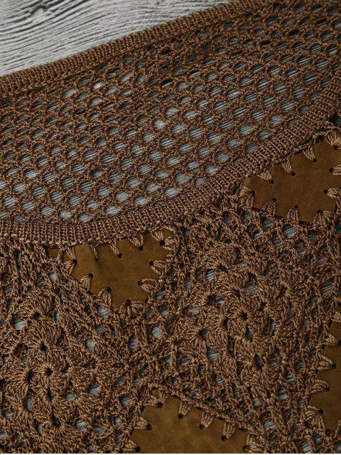 hot Suede Panel Crochet Cover Up - BROWN M Mobile