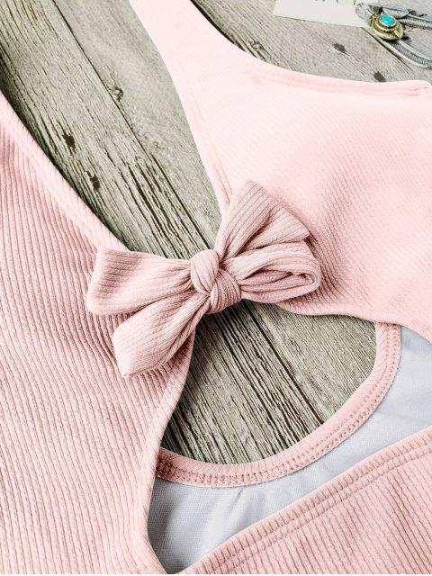 Maillots de bain une-pièce texturé découpé haut avec nœud papillon - ROSE PÂLE S Mobile