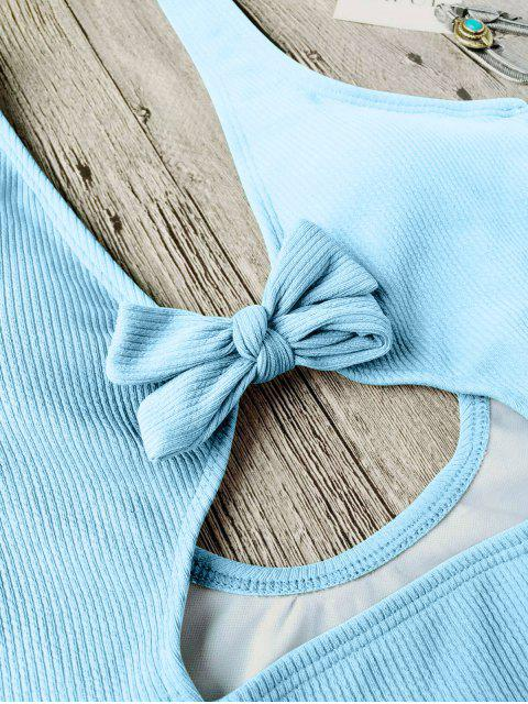 buy Bowknot Textured High Cut One Piece Swimsuit - LIGHT BLUE L Mobile