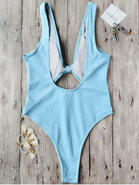 womens Bowknot Textured High Cut One Piece Swimsuit - LIGHT BLUE M Mobile