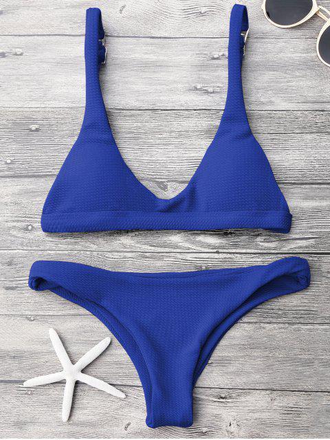 Ensemble de bikini paddé col U taille basse - Bleu saphir S Mobile