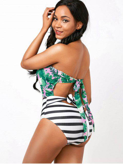 chic Palm Striped Cut Out Backless Halter Swimwear - COLORMIX L Mobile