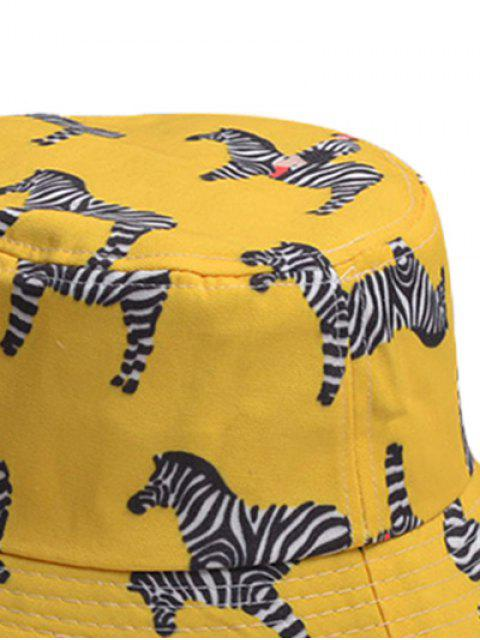 affordable Cartoon Zebra Pattern Bucket Hat - YELLOW  Mobile