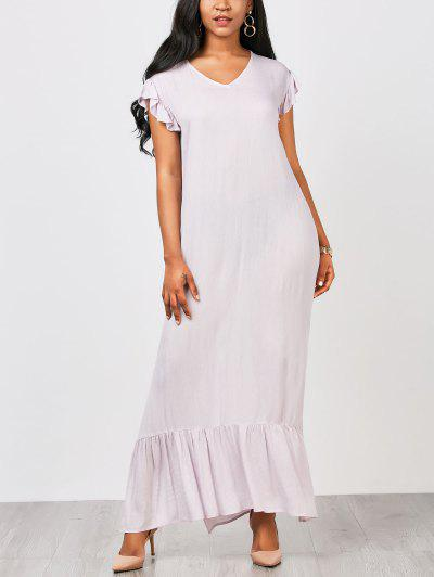 Straight Casual Ruffles Maxi Dress - Light Purple Xl
