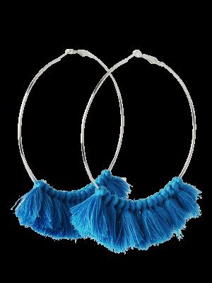Metal Circle Tassels Hoop Earrings - Blue