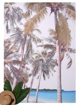 Rectángulo Coco Tree Imprimir Beach Throw - Azul