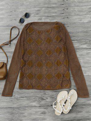 Suede Panel Crochet Cover Up - Marrón L