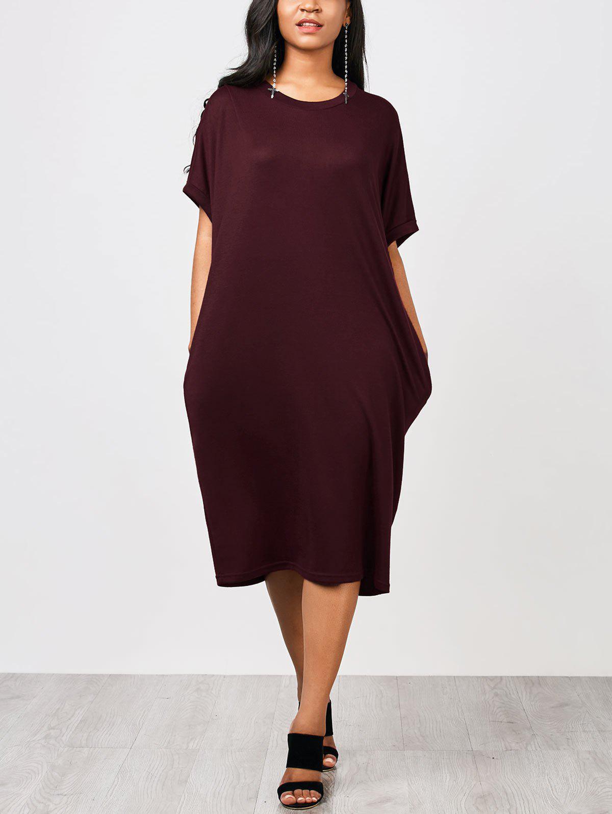 Dritto Casual Maglia Midi Dress