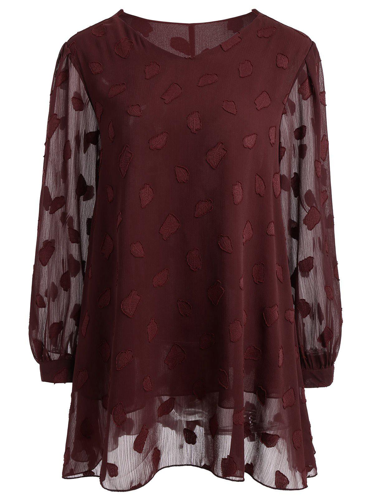 Plus Size Langarm Semi Sheer Lace Bluse