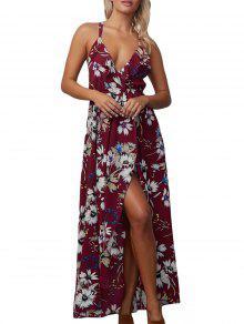 الأزهار الشيفون عارية الذراعين متقاطع فستان ماكسي زلة - نبيذ أحمر L