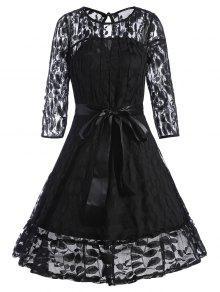 مربوط الدانتيل تراكب فستان خط - أسود S