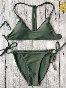 T Back Bralette String Bikini Set - Green S