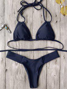 Halter Plunge High Cut Bikini Set - Purplish Blue M