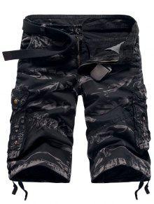 سحاب جيوب التمويه جيوب مستقيم الساق البضائع السراويل - التمويه أسود 36