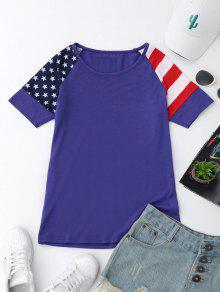 Camiseta Patriótica De La Bandera Americana De L - Azul Xl