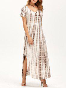 فستان متدفق ماكسي جانب الانقسام  - مصفر الوردي Xl
