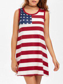 فستان مريح مصغر تونك طباعة علم أمريكي - Xl