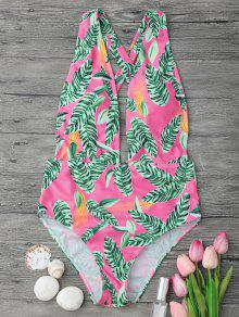 Cross Back Plunge One Piece Swimsuit - Pink S