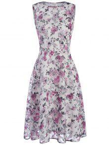 الشيفون الشاي طول فستان عارضة صغيرة مع طباعة الأزهار الصغيرة - أبيض 2xl
