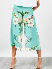 Buy High Waisted Chiffon Floral Wide Leg Pants - FLORAL M