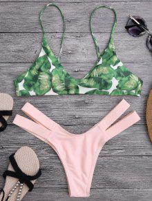 Haut De Bikini Imprimé Palmier Et Bas De Bikini En Bandage - Rose Clair S