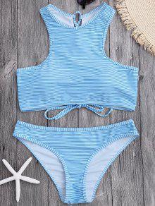High Neck Stripe Lace Up Bikini - Light Blue S