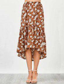 Ruffles Asymmetrical Beach Midi Skirt - Floral S