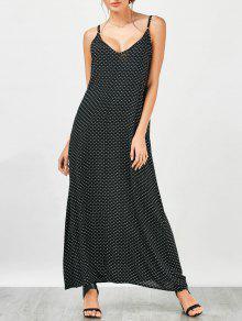 Heart Print Maxi Slip Dress - Black M