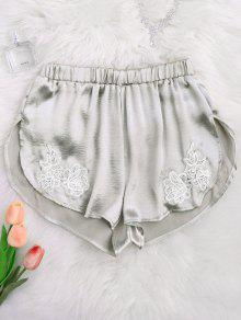 Applique Satin Dolphin Sleep Shorts - Frost S