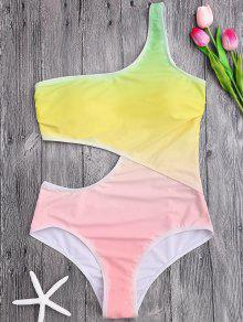 One Shoulder Ombre One Piece Swimsuit - Yellow L