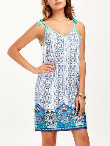 شرابة مطبوعة البسيطة الصيف اللباس - أزرق L