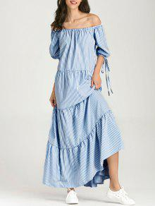 Off The Shoulder Striped Maxi Dress - Blue Stripe L