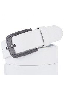 الرجعية تنقش فو الجلود دبوس مشبك حزام - أبيض