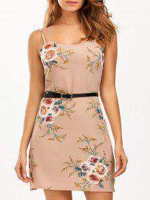 السباغيتي حزام الأزهار المطبوعة الشيفون اللباس - كاكي S