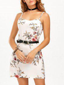 السباغيتي حزام الأزهار المطبوعة الشيفون اللباس - أبيض S