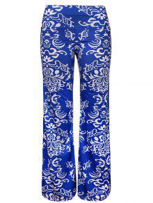 Pantalones Anchos De La Pierna De La Impresión Tribal - Azul Xl