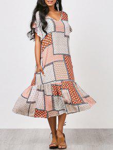 فستان كشكش طباعة القبلية ميدي - M