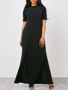فستان عالية الرقبة الانقسام ماكسي - أسود S