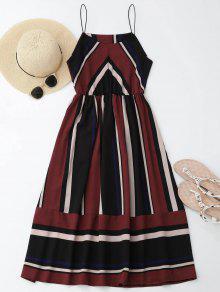 فستان  الشمس متعددة الشريط كامي ميدي  - نبيذ أحمر L