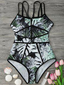 بيبينغ الاستوائية طباعة قطعة واحدة ملابس السباحة - الأخضر والأسود L